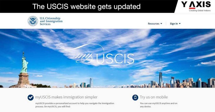 USCIS updated website